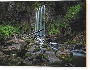 Hopetoun Falls Wood Print by Mark Lucey