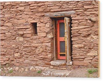 Hopi House Door Wood Print by Julie Niemela