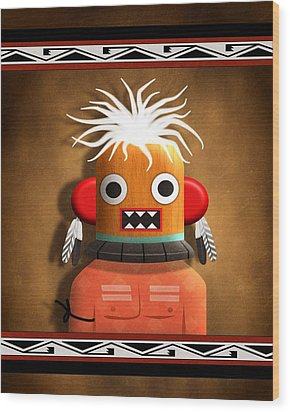 Wood Print featuring the digital art Hopi Indian Kachina by John Wills