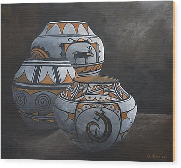 Hopi Pots Wood Print by Jerry McElroy