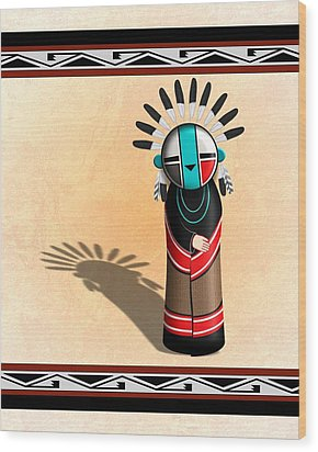 Hopi Sun Face Kachina Wood Print