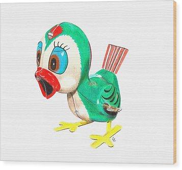 Hopping Billy The Bird Wood Print