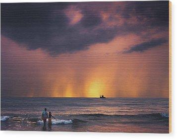 Horizon Wood Print by Marji Lang