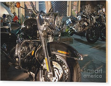 Wood Print featuring the photograph Horizontal Front View Of Fat Cruiser Motorcycle With Chrome Fork by Jason Rosette