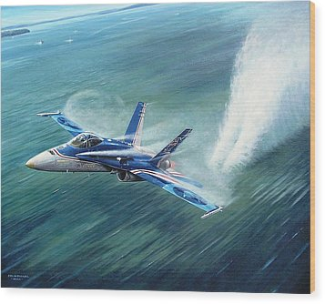 'hornet 20th Anniversary Over Myall Lake Nsw' Wood Print