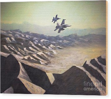 Hornets Over Afghanistan Wood Print