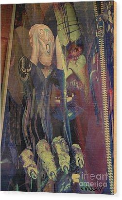 horror fantasy art - The Green Scream Wood Print by Sharon Hudson