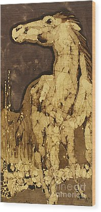Horse Above Stones Wood Print