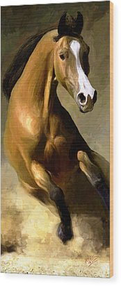 Wood Print featuring the painting Horse Agility by James Shepherd