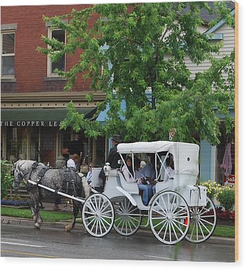 Wood Print featuring the photograph Horse And White Buggy by Nancy Bradley