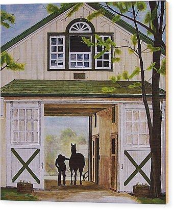 Horse Barn Wood Print by Michael Lewis