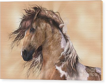 Horse Brown And White Paint Wood Print