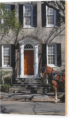 Horse Carriage In Charleston Wood Print