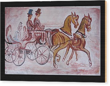 Wood Print featuring the painting Horse Chariot by Anand Swaroop Manchiraju