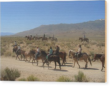 Horse Drive From June Lake To Bishop California Wood Print by Christine Till