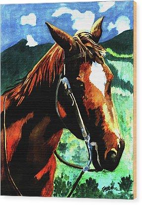 Horse Wood Print by Farah Faizal