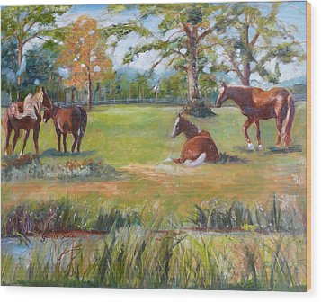 Horse Farm In Georgia Wood Print