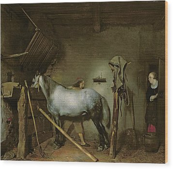 Horse In A Stable Wood Print by Gerard Terborch