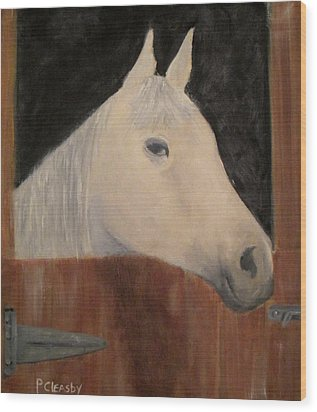 Horse In Stall Wood Print