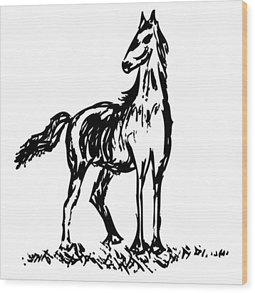 Horse Wood Print by Karl Addison