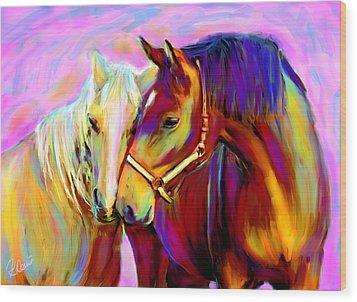 Horse Love Wood Print by Karen Derrico