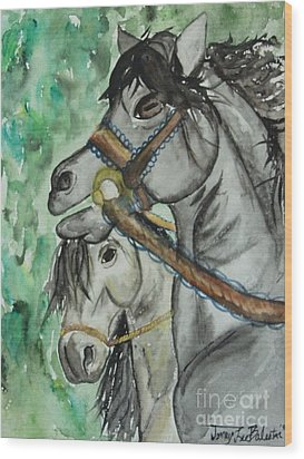Horse Meets Carousel Pony Wood Print by Jamey Balester