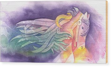 Horse Of A Different Color Wood Print by Marsha Elliott