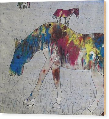 Wood Print featuring the painting Horse Of A Different Color by Thomasina Durkay