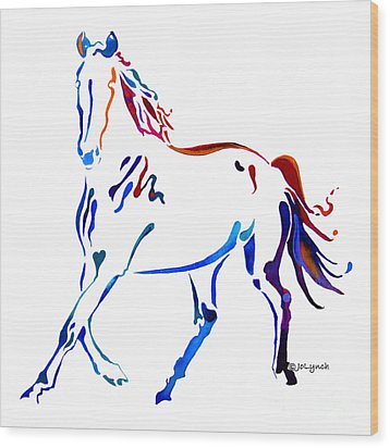 Horse Of Many Colors Wood Print by Jo Lynch