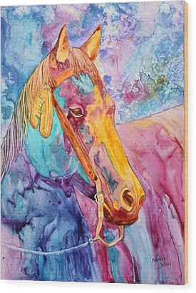 Horse Of Many Colors Wood Print by Nancy Jolley