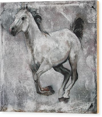 Wood Print featuring the painting Horse Painting Stallion Lipizzaner by Ginette Callaway