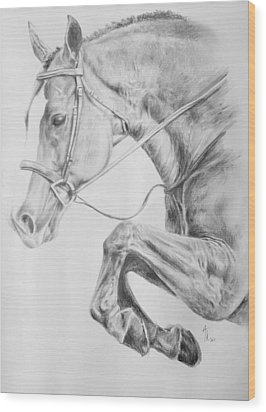 Horse Pencil Drawing Wood Print by Arion Khedhiry