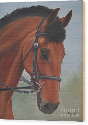Wood Print featuring the painting Horse Portrait by Jindra Noewi