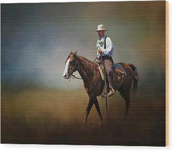 Wood Print featuring the photograph Horse Ride At The End Of Day by David and Carol Kelly