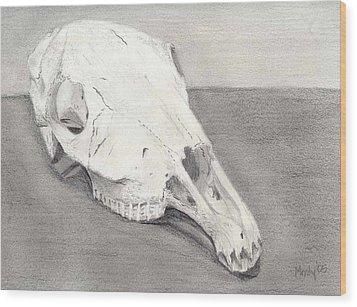 Horse Skull Wood Print by Mendy Pedersen