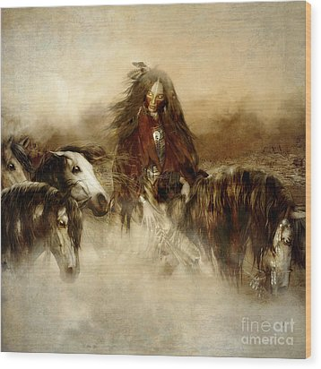 Horse Spirit Guides Wood Print by Shanina Conway