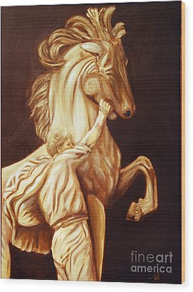 Horse Statue Wood Print by Nancy Bradley