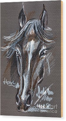 Horse Study Wood Print by Daliana Pacuraru
