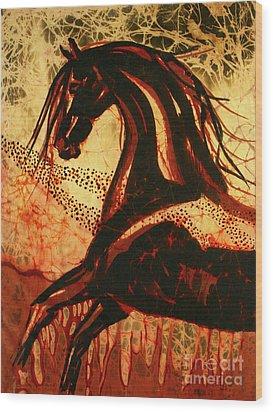 Horse Through Web Of Fire Wood Print by Carol Law Conklin