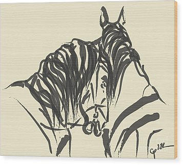 Horse - Together 9 Wood Print