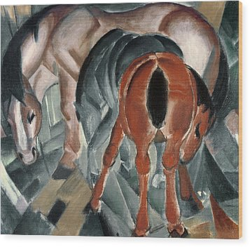 Horse With Two Foals Wood Print by Franz Marc