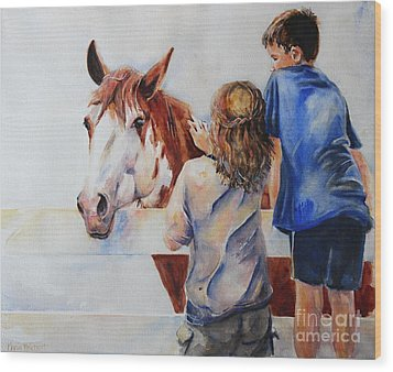 Horses And Children Painting Wood Print by Maria's Watercolor