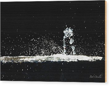 Wood Print featuring the photograph Horses And Men In Rain by Bob Orsillo