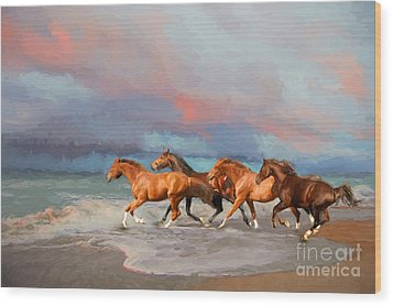 Horses At The Beach Wood Print