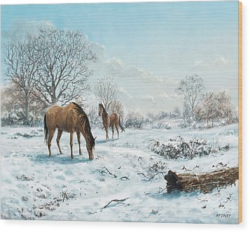 Wood Print featuring the digital art Horses In Countryside Snow by Martin Davey