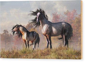 Wood Print featuring the digital art Horses In Fall by Daniel Eskridge