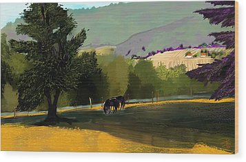 Horses In Field Wood Print by Debra Baldwin