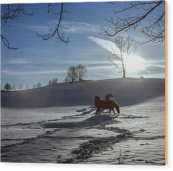 Horses In The Snow Wood Print by Greg Reed