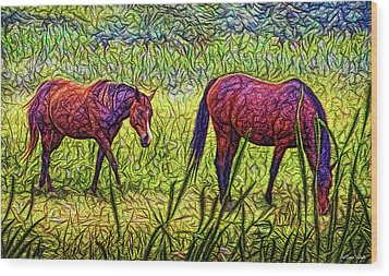 Horses In Tranquil Field Wood Print