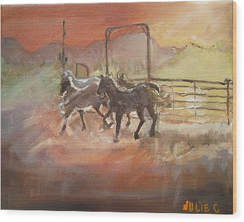 Wood Print featuring the painting Horses by Julie Todd-Cundiff
